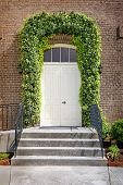 stock photo of front-entry  - Vertical shot of a front door on a new home - JPG