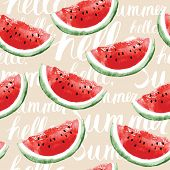 stock photo of watermelon  - Watercolor seamless pattern with watermelons - JPG