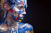 pic of muse  - Young woman muse with creative body art and hairdo - JPG