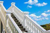 stock photo of stairway  - East Hamptons vineyard stairway on the blue sky