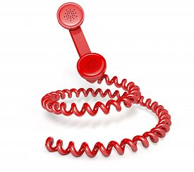 pic of coil  - A vintage telephone handset connected to a coiled cord shaped like a spiral on an isolated white studio background - JPG
