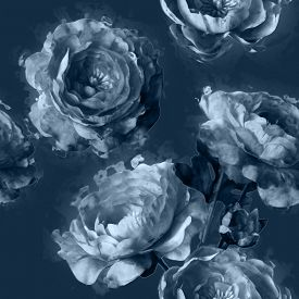 picture of garden-art  - art vintage monochrome floral seamless pattern with white peonies on blue grey background - JPG