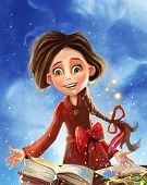 foto of fantastic  - Cartoon girl with happy smile in a fantastic land illustration - JPG
