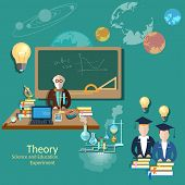 Постер, плакат: Education Concept: Students And Teachers Science And Education vector illustration