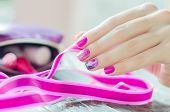 picture of nail-design  - Beautiful nail design with sparkles and flower - JPG