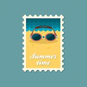 picture of goggles  - Swimming Goggles flat stamp vector illustration eps 10 - JPG