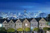 picture of ladies night  - Painted ladies at Night San Francisco skyline - JPG