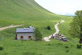 image of chalet  - Mountain chalet with solar panels - JPG
