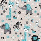 Постер, плакат: Seamless baby blue boy safari animals zoo illustration elephant giraffe lion zebra and bird backgrou