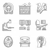 image of ct scan  - Flat line icons vector collection for MRI research - JPG