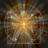 stock photo of leonardo da vinci  - A Man Inscribed In The Medieval Mystic Pentagram  - JPG
