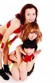 Three styled professional cheerleader.