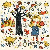 Cute princess doodle set in color