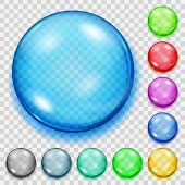 Set Of Transparent Colored Spheres With Shadows poster