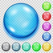 Постер, плакат: Set Of Transparent Colored Spheres With Shadows