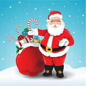 Vector illustration of Santa Claus bag of gifts