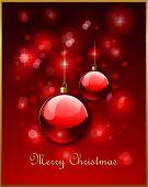 Bolas de Navidad rojo y luces defocused