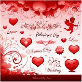 Valentine's day icons collection items vector illustration