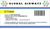An airline e-Ticket with logo and copy
