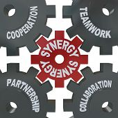 Several cogwheel gears turning together, reading Synergy, Teamwork, Partnership, Collaboration and Cooperation