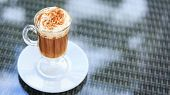 Irish Coffee In An Outdoor Bar. Concept Of St Patrick Holiday. Holiday Background poster
