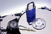 Padlock on computer hard-drive disc