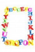 Alphabet letters frame over white