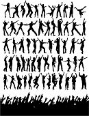 stock photo of party people  - Lots of silhouettes of party people plus a silhouette of an excited crowd - JPG