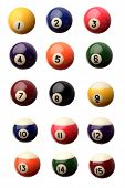 Fifteen pool balls isolated over white