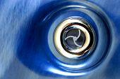 Closeup of vent set into blue surface