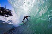 Surfer in Big Barrel, Getting Tubed