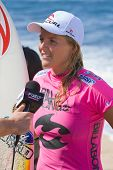 MAUI, HAWAII - DECEMBER 18, 2008:   Professional Surfer Stephanie Gilmore gives an interview after t