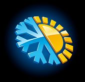 climate symbol icon winter and summer snow and sun vector illustration