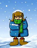 dressed man in winter snow vector illustration