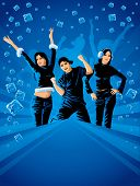 teenagers dancing on the winter party with blue icy background