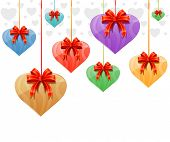 hanging hearts with red ribbons - valentines day vector illustration