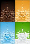 conjunto de varios líquidos de bebida de bienvenida - vector ilustración