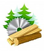 icon for woodworking industry vector illustration isolated on white background. Gradient mesh used.
