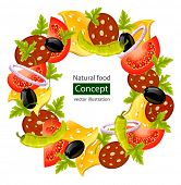 round wreath of food concept vector illustration isolated on white background