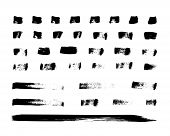 Hand Drawn Brush Strokes. Set Of 35 Grunge Ink Brush Shapes. Painted Textured Lines. Vector Artistic poster