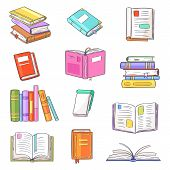 Books Vector Opened Diary Story-book And Notebook On Bookshelves In Library Or Bookstore Illustratio poster