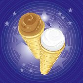 Two Ice-Cream Cones On Imaginary Background (Fully Editable Vector Image)