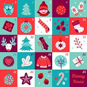 Christmas Advent Calendar With Owl, Tree, Girl, Ball, Mittens, Gift, Socks, Deer, Cinnamon, Berry, S poster