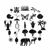 African Wildlife Icons Set. Simple Set Of 25 African Wildlife Food Icons For Web Isolated On White B poster