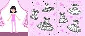 Little Ballet Dancer On Stage. Colored Paper Doll In Cartoon Style With Black  And White Ballet Tutu poster