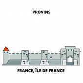 France, Ile-de-france - Provins, Town Of Medieval Fairs Line Travel Landmark, Skyline, Vector Design poster