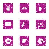Hilltop Icons Set. Grunge Set Of 9 Hilltop Icons For Web Isolated On White Background poster