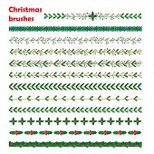 Set Of New Year, Christmas Doodle Hand Drawn Pattern Brushes poster