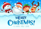 Merry Christmas! Happy Christmas Companions With Big Signboard In Christmas Snow Scene Winter Landsc poster