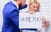 Sexual Harassment Between Colleagues And Flirting In Office. Workplace Bullying Concept. Me Too Soci poster